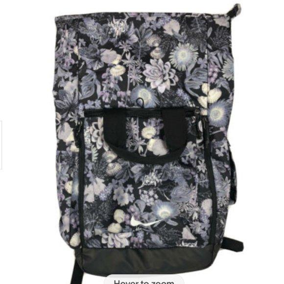 Nike Floral Backpack Laptop Fold Over Top Knapsack